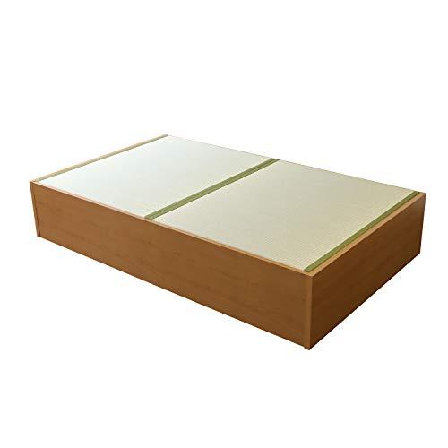 こうひん 日本製 畳ベッド 大容量収納付 『スパシオ』 シングル 幅101cm 全長202cm 高さ38cm 【工具付・約30分程の簡単組立・一年保証付】 ライトブラウン 畳:中国産い草畳 ※配送区分:<大型商品>