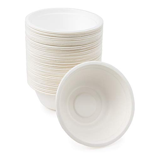 60 Cuencos de Papel de Caña de Azúcar Desechables, 500ml - Ecológicos Biodegradable Compostable| Resistente e Impermeable - Apto para Microondas - Alternativa Natural al Plástico.
