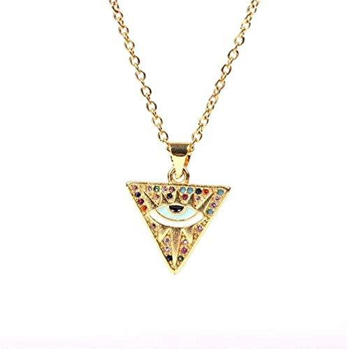 NC110 Collar con Colgante de triángulo, Cadena Larga de Color Dorado, Collar de Ojo Turco Multicolor, joyería de Moda para Mujeres y niñas