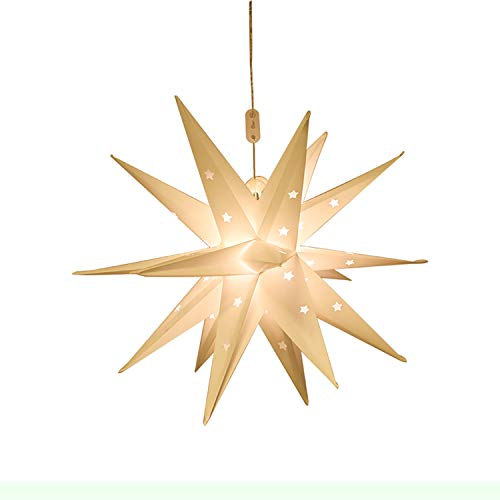Lostars Moravian Star Pendant Light Tree Topper PVC Paper Lantern Lights, 18 Point White 3D Star, Indoor Outdoor Battery Operated 6 Hrs Timer (45cm/17.7in)