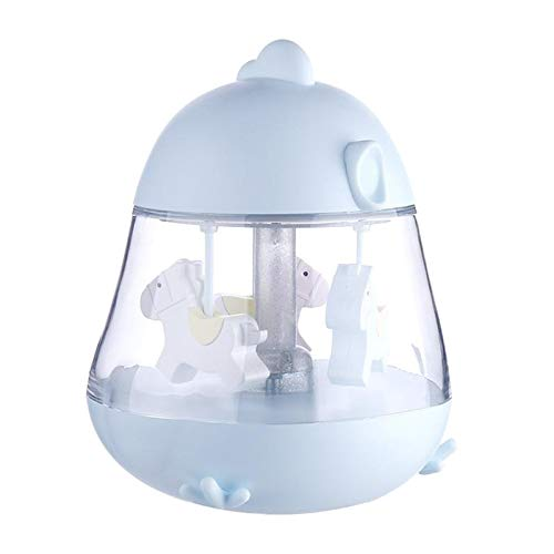Fenteer Regalo de Caballo de Carrusel de Luz de Noche LED de Dibujos Animados - Caja de Música Giratoria Cumpleaños Aniversario para Esposa Hija Novia Lámpara - Azul