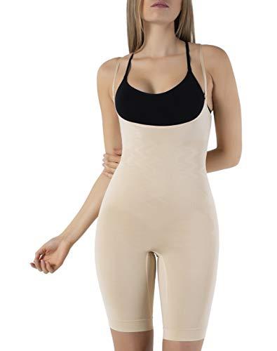 UnsichtBra Shapewear Damen Bauch Weg Body | Bauchweg Unterwäsche Korsett - Funktion | Eigener BH Bodyshaper für Frauen in schwarz, weiß u. beige (sw_2100)(L (44-50),Beige)