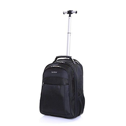 Karabar Laptop Handgepäck Rucksack Trolley Laptoptasche Laptopfach Rollkoffer mit Rollen für Notebooks von bis zu 16 Zoll Business Tasche 55 cm 35 Liter 1,95 kg, Aragon Schwarz