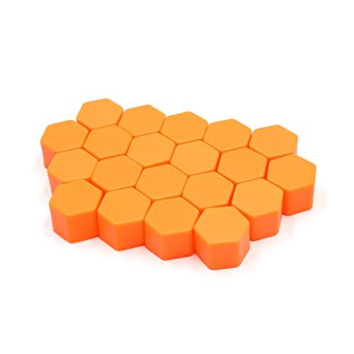 sourcing map 20pcs 19mm Silicone Orange écrou roue moyeu roue voiture couvre poussière vis Protéger Caps