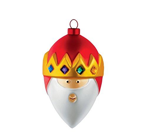 Alessi AMJ13 8 Gaspare Heilig König Caspar Weihnachtskugel, Handdekoriertes Geblasenes Glas, Rot