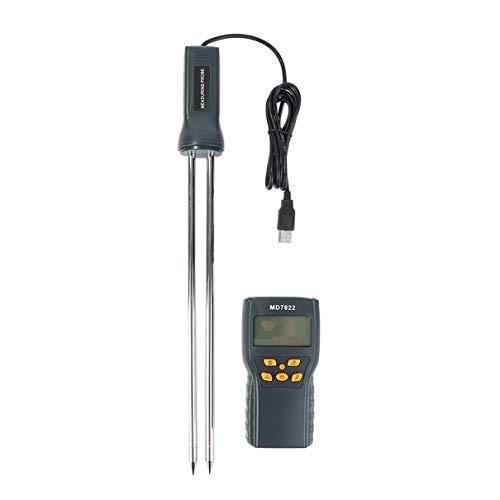 MD7822 Tragbares tragbares LCD-Display Digitales Feuchtigkeitsmessgerät für Getreide Feuchtigkeitsprüfer Weizen-Mais-Reis-Feuchtigkeitsmessgerät - Schwarz