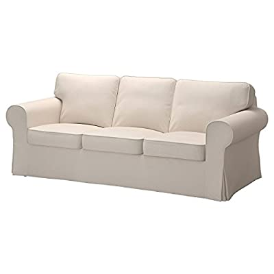 Replacement Cover for IKEA Ektorp 3-seat Sofa without Chaise , Lofallet Beige (does NOT fit Ektorp 3.5-seat Sofa)