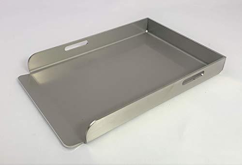 EWH Grillplatte BBQ Plancha aus Edelstahl 1.4301 Größe: Compact 30 x 20 cm mit optionalen Plattenhebern (Deutsche Fertigung)