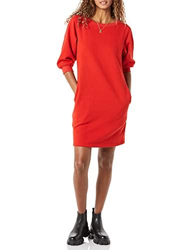 Amazon Essentials Vestido Sudadera de Tejido de Rizo Francés con Mangas Blusas y Cuello Redondo, Rojo, M