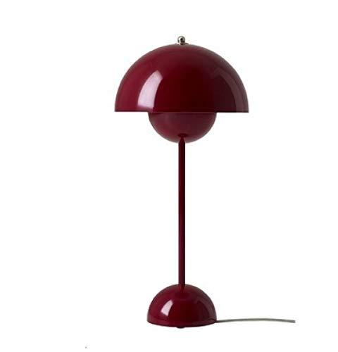 Nuanchen, einfache moderne dänische Macarons Tischlampe Wohnzimmer Schlafzimmer Studie Nachtbett Halbkreisförmige Dekoration LED Tischlampe-dunkelrot
