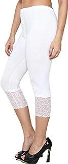 Women's Cotton 3/4 Short Capri Leggings (White, Free Size)