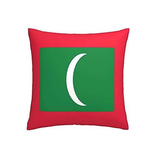 Kissenbezug mit Flagge von Malediven, quadratisch, dekorativer Kissenbezug für Sofa, Couch, Zuhause, Schlafzimmer, drinnen & draußen, niedlicher Kissenbezug 45,7 x 45,7 cm