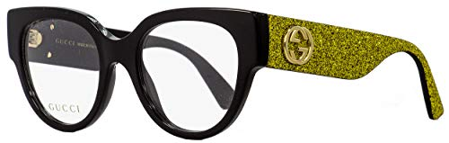 Gucci Occhiali da Vista GG0103O BLACK GLITTER GOLD donna