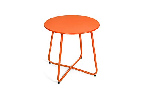 Pationate Patio Metal Side Table, Small Outdoor Bistro Round End Table (Carrot)