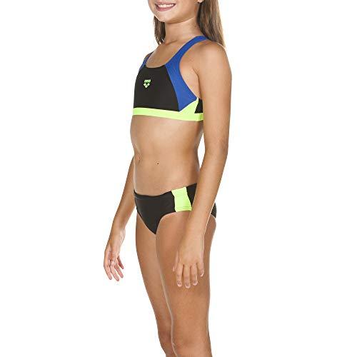 ARENA Mädchen Sport Bikini Ren, Black-Royal-Shiny Green, 128