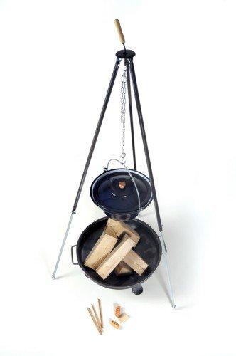 acerto 40208 Hongaarse goulashketel (14 liter) + driepoot frame (180 cm) + vuurschaal (55 cm) + haardhout beuken | telescopische driepoot met goulashpan, soepppan, glühweinpan