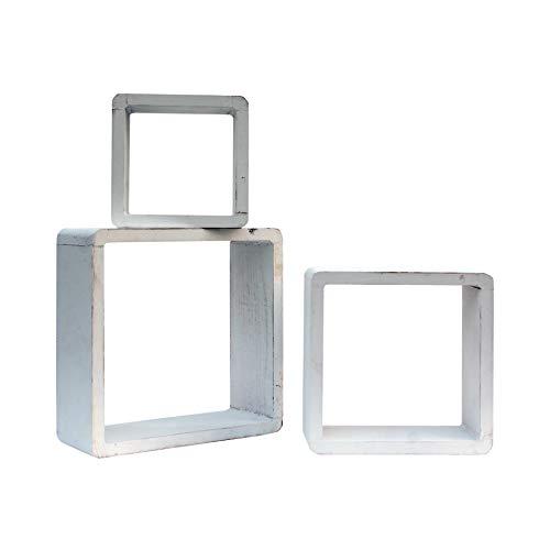 Rebecca Mobili Set 3 Étagères Murales Design Cube Support Murale Bois Blanc Moderne Decor Bureau Maison (Cod. RE6300)