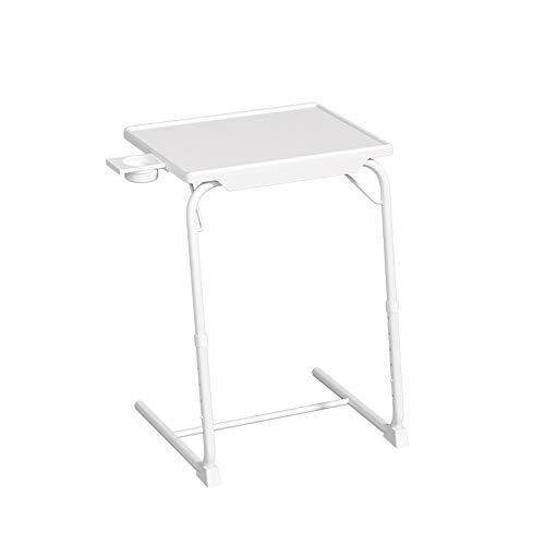 Odegltina Mesa auxiliar, mesa de cama, mesa para portátil, mesa de café, mesa auxiliar, mesa auxiliar de metal, altura regulable, fácil de montar (blanco)