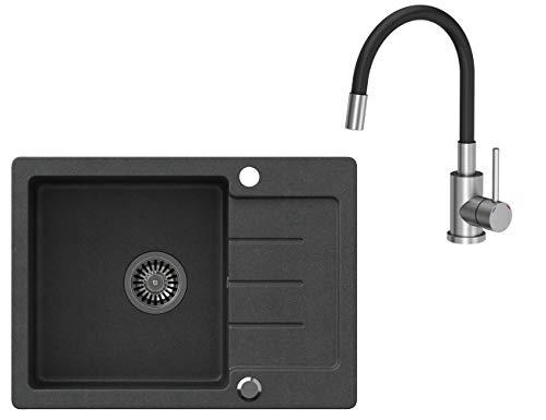 VBChome Spüle Schwarz 60 x 44 cm mit Spültischarmatur Granit Einzelbecken Einbauspüle gesprenkelt reversibel Verbundspüle + Siphon Wasserhahn Einhebel
