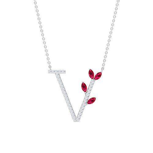 Ciondolo a forma di lettera dell'alfabeto a V, con nome antico, con rubino da 0,52 ct creato in laboratorio, collana con diamante da 1/4 ct HI-SI, pendente floreale impilabile,18K Oro bianco