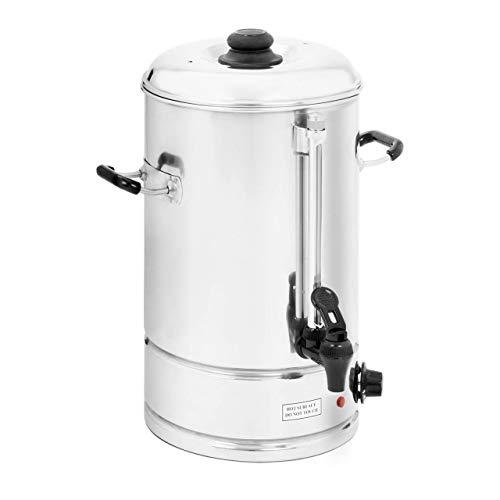 Royal Catering - Wasserkocher Heißwasserspender (10 Liter, 2.000 W, ca. 62 Tassen, 30 x 33 x 42 cm, 100 °C, Füllstandanzeige, Edelstahl) Silber