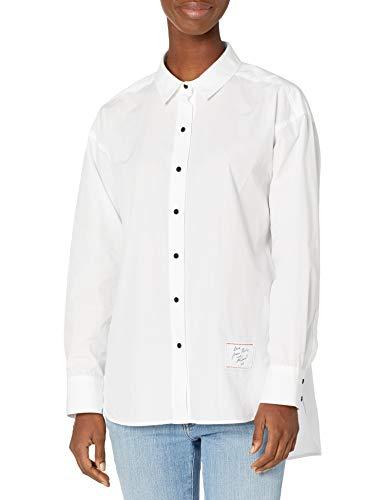 Karl Lagerfeld Paris Damen LS OVRSZD BLS Button Down Hemd, Weiß (Soft White), Klein