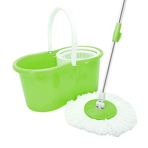 Mecor Spin Mop Bucket System-Microfiber Spinning Mop w/Bucket, 2 Microfiber Mop Heads-Rotating 360 Degree, Adjustable Handle-for Home Cleaning, Bathroom Equipment-Green