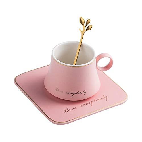 Taza de café Taza De Cerámica De Porcelana Europea, Leche De Soja, Desayuno, Café Condensado, Juego De Tazas Y Platillos, Tazas De Cuchara Dorada, Tazas De Navidad