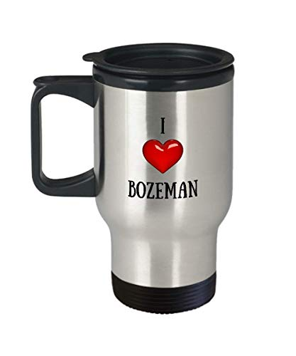I Love Bozeman Travel Mug - American States, Cities and Towns Coffee Travel Mugs - Stainless Steel Travel Mug with Handle and Lid