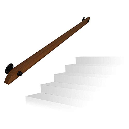 1ft-20ft Pine Stair Railing, Solid Wood Wall Railing Villa Loft Indoor and Outdoor Old Man Handrail, with Installation Accessory Kit 11ft