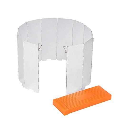 Sagafly Pare-vent pliable pour réchaud à gaz, 12 lamelles, réchaud à gaz, protection contre le vent, pour extérieur, camping, pique-nique, barbecue
