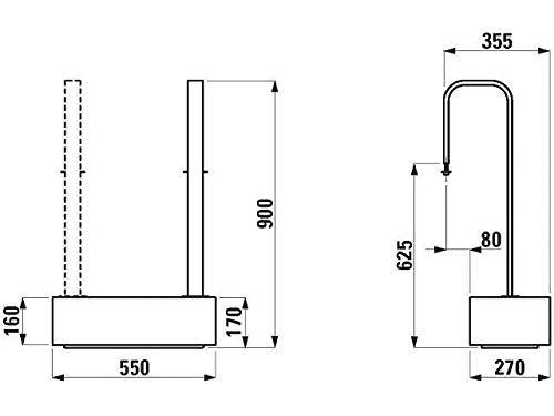 Laufen Holztritt Easy Entry Step LB3 Handlauf verchromt Befestigungsset weiß