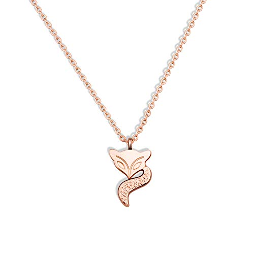 WUSUANED Lucky Fox Pendant Necklace Origami Fox Jewelry Gift for Fox Lover Women Girls (Fox Necklace)