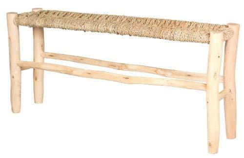 Maison Andaluz großer, schmaler, marokkanischer Hocker, handgefertigt aus Korbgeflecht und natürlichem Lorbeerholz – B 20 L 100 H 45 cm Bank
