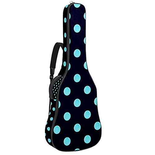 Electric Guitar Bag Padded Acoustic Guitar Gig Bag Adjustable Shoulder Strap Guitar Case Blue Black Polka Dot