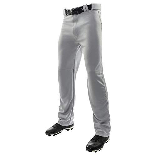 Champro Adult MVP Open Bottom Relaxed Fit Baseball Pant, Grey, Small