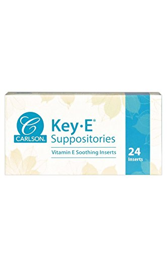 Carlson - Key-E Suppositories, 30 IU Vitamin E Suppository, Lubricates Dry Areas, Treatment for Women and Men, Vaginal & Rectal, 24 Count
