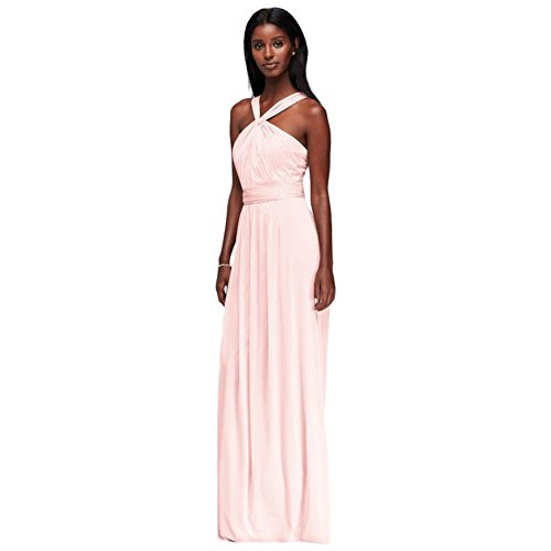David's Bridal Y-Neck Long Mesh Bridesmaid Dress Style W11173, Petal, 2