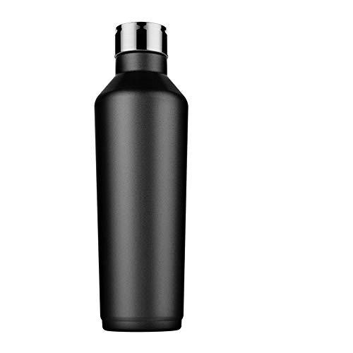 AZZ Tasse créative portative d'acier Inoxydable, avec la Tasse de Voyage de poignée de Couvercle, Tasse extérieure de Voiture de Grande capacité d'acier Inoxydable (Couleur : Noir)