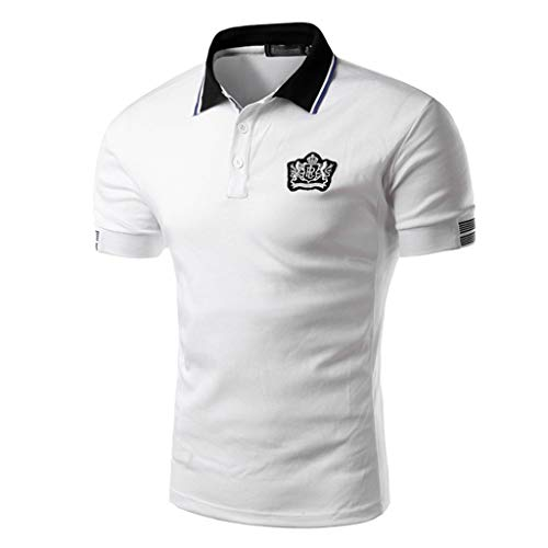 Luckycat Herren Kurzarm Basic Kontrast Polo-Shirt Poloshirt Herren Kurzarm Basic T-Shirt Freizeit Plaid spleißen Polohemd Poloshirt Herren Kurzarm Basic T-Shirt Casual Einfarbig Polohemd