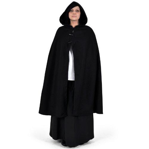 Mittelalter Umhang Damen Kapuze Knebelverschluss warm u wasserabweisend schwarz