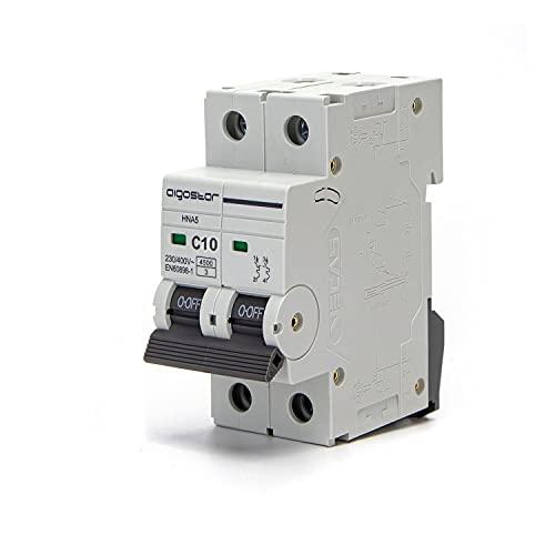 Aigostar Interruptor Automático Magneto Térmico, 2P, 10A, Curva C, 74.5mm x 35.5mm x 81mm, Blanco