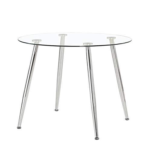 Suecia, Mesa de Cristal Redonda, Mesa de Comedor, salón o Cocina, Acabado en Cristal y Cromado, Medidas: 100cm (Diametro) x 75 cm (Altura)