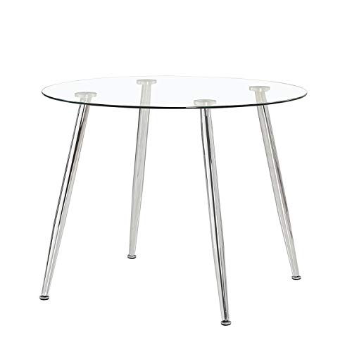 Suecia, Mesa de Cristal Redonda, Mesa de Comedor, Salón o Cocina, Acabado en Cristal y Negro, Medidas: 100 cm (Diámetro) x 75 cm (Alto)