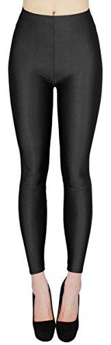 dy_mode Glanz Leggings Damen bunt viele Farben Tanz Leggings glänzende Leggins Shiny One Size - JL116 (One Size - geeigent für Gr. 36-38, JL116-Schwarz)