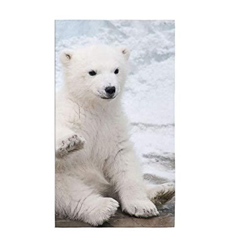 Toalla de cocina con oso polar para bebé, suave, muy absorbente, para el hogar, decoración multiusos para baño, hotel, gimnasio y spa, 15.7 x 27.5 pulgadas