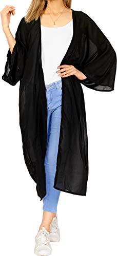 LA LEELA Costumi di Halloween Copricostume Mare Cardigan Donna Taglie Forti- Vintage Chiffon Estivo Scialle Elegante Solido Kimono Vestito Lungo Estate Boho Tunica Etnica Abito da Spiaggiù Nero_A704