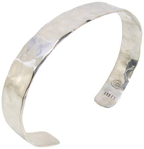 Pure Silver Cuff Bracelet, Hammered Rustic Solid Pure Silver Cuff