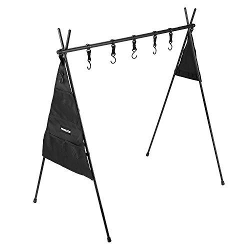 FLYFLYGO ランタンスタンド キッチン道具整理用ハンガー 小物収納用ハンガー アルミ製 キャンプアウトドアに適用(ハンガー+小物整理用ケース)