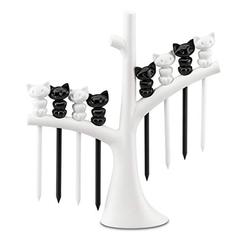 koziol Party-Piekser-Set mit Baum Miaou, thermoplastischer Kunststoff, weiß mit schwarz, 4 x 17 x 19,2 cm